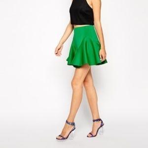 ASOS Green Ruffle Scuba Skirt